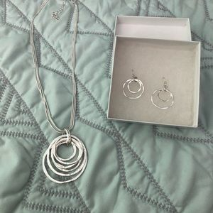 Silver Toned Necklace and Earring Set